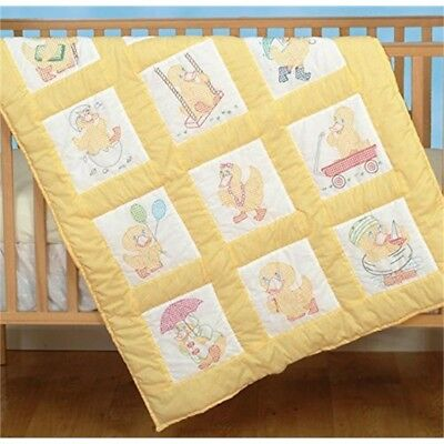 Jack Dempsey 9 x 9-inch Baby Ducks Stamped White Nursery Quilt Blocks, Pack Of