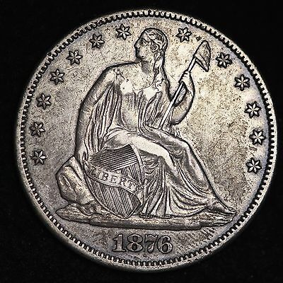 1876-CC Seated Liberty Half Dollar CHOICE XF FREE SHIPPING E132 AETX