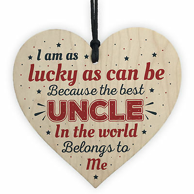 UNCLE BROTHER DAD Novelty Wooden Heart Plaque Birthday Christmas Gift For Uncle