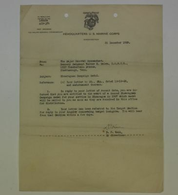 1929 Marine Corps Nicaraguan Campaign Medal Document To Usmc Gunnery Sergeant