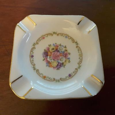 GLORIA PORCELAIN, West Germany ~ 3 inch Ash Tray; Floral Pattern with Gold.