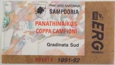 1991-92 European Cup Sampdoria V Panathinaikos Match Ticket/Entrada