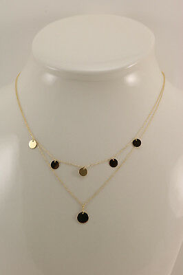 New 14K Yellow Gold Polished Disk Layer Chain Necklace