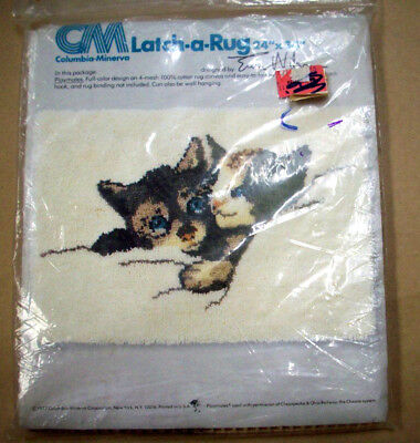 "latch hook rug pillow canvas cats kittens playmates columbia minerva 24""x24"""