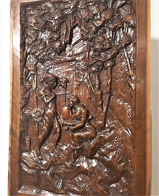 Loving Lady Panel Antique French Hand Carved Wood Carving Architectural Salvage