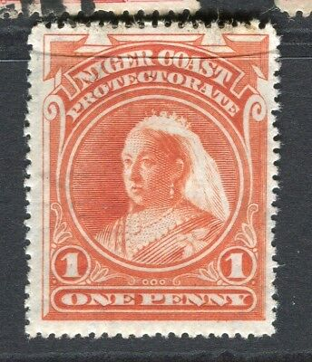 NIGER COAST; 1894-5 early classic QV issue Mint hinged 1d. value