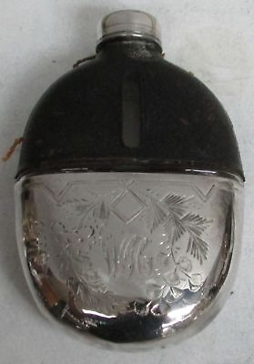 Antique Sterling Silver & Crystal Leather Flask & Cup