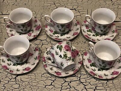 Vintage Tea Cup & Saucer Plate Set 12 Pink Roses Gold Trim Beautiful Jay & Son's