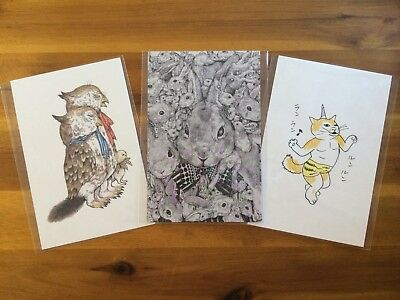3 Kawaii Postcards by Yuko Higuchi for Every Cat Lover! F/S JAPAN