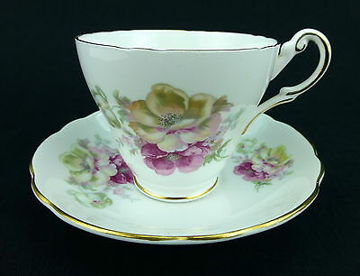 Regency Prairie Rose Cup and Saucer Set English Bone China Scalloped Pink Floral