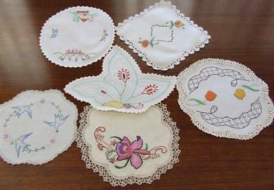 A Selection of Six Beautiful Vintage Hand Embroidered Doilies - Various Patterns