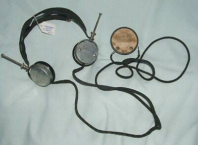 """Vintage Radio Headphone Set """"Cannon-ball Master  Springwater NY""""  Complete Clean"""