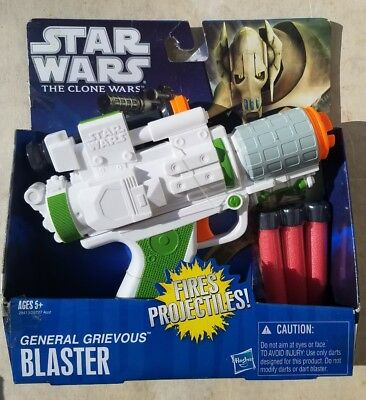 Star Wars The Clone Wars GENERAL GRIEVOUS BLASTER NERF Dart Gun Hasbro 2010 New