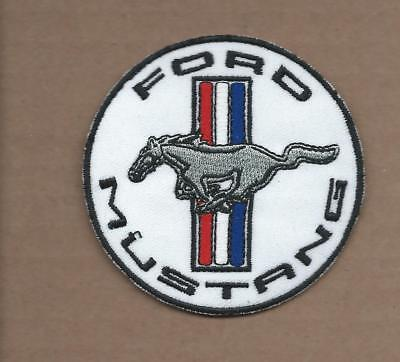 New 3 Inch White Ford Mustang Iron On Patch Free Shipping