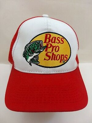 Bass Pro Shops Red Embroidered Snapback Mesh Baseball Cap Truckers Hat Fishing