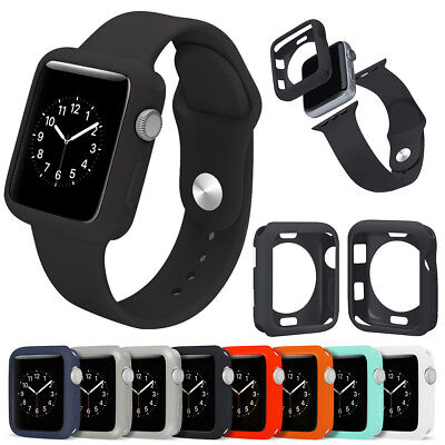 Replacement Silicone Sport Band Wrist Strap Case Cover for iWatch 38mm 42mm US
