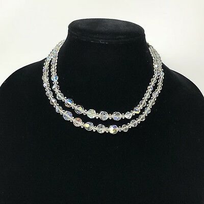 Vintage Graduated Faceted Clear Double Strand Crystal Glass Necklace Hook 1950's