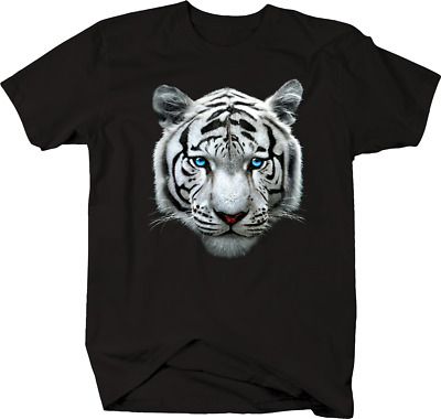 White Tiger Head Blue Eyes Majestic Big Cat Endangered Species T-shirt