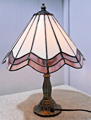 Tiffa Mini Stained Glass Antiqued Brass Table Lamp Night Light 9884