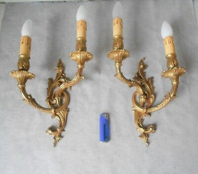 PAIR of Antique French solid bronze  WALL Light SCONCES