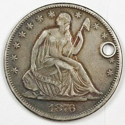 1876-cc Seated Liberty Half.  X.F. Detail.  Holed.  121102