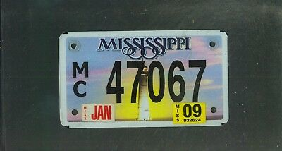 """MISSISSIPPI 2009 license plate """"47067"""" ***NATURAL***MOTORCYCLE***"""