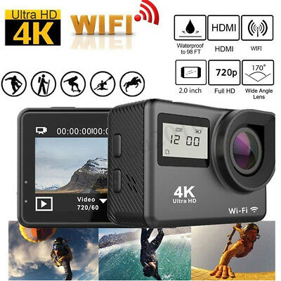 4K LCD Dual Screen 170° HD WiFi Sports DV Action Camera With Remote Control