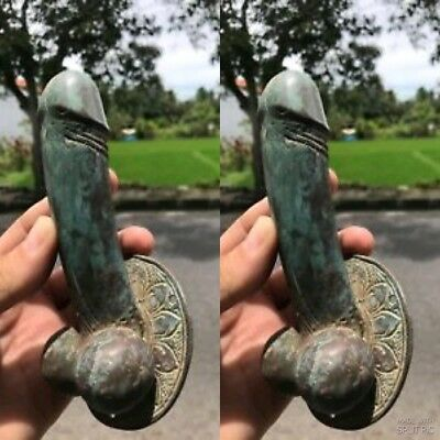 2 old looking penis DOOR PULL HOOK aged GREEN solid brass 17cm handle hand madeB