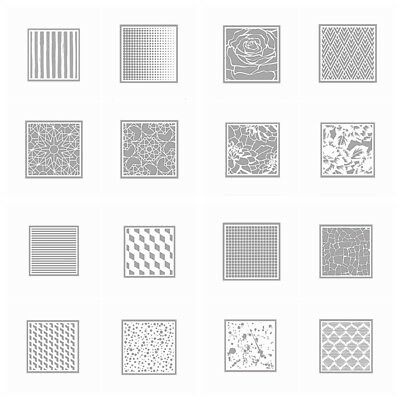 16 Background Stencil Set Plastic DIY Drawing Template Album Photo Drawing Sheet
