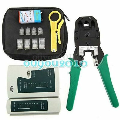 Netzwerk Ethernet LAN Kit RJ45 Cat5e Cat6 Kabel Tester Crimper Crimpzange Set