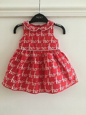 Next Baby Girls Red HO HO HO Dress Age 3-6 Months Christmas Outfit Set