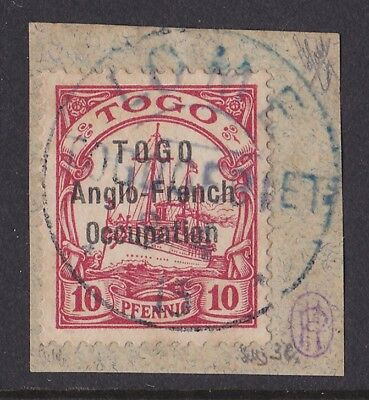 TOGO - BRITISH 1915 Sansane-Mangu overprint Yacht 10pf no wmk PHOTO CERTIFICATE