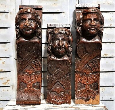 THREE GOTHIC ANGEL CORBEL BRACKET Antique french carved wood salvaged sculpture