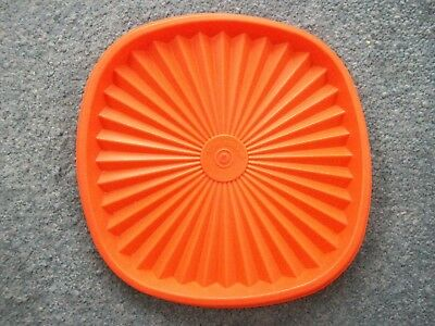 Vintage 1970s Tupperware Orange Square Lid 16cm - LID ONLY Excellent Condition