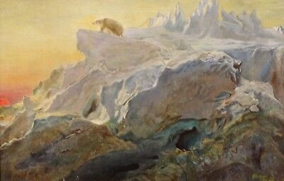 Fine Early 20th Century Arctic Exploration Polar Bear Landscape Oil Painting