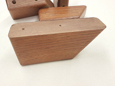 4 Strong OAK Wooden Furniture Feet For Sofa Chairs Settees Laquered Hard Wood