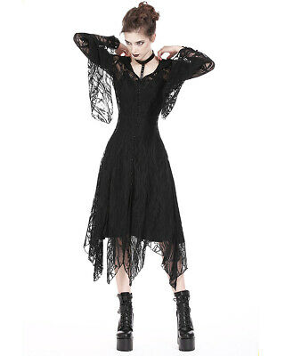 Dark In Love Hooded Gothic Lace Dress Cloak Cardigan Long Black Steampunk Witch