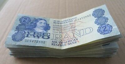 *Bulk Buy* South Africa 2 Rand 1983-1990 x 50 notes VF. JO-5980
