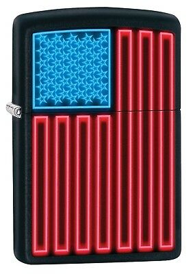 Zippo Lighter: Neon American Flag - Black Matte 79566