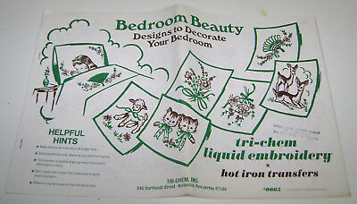 Vintage Bedroom Beauty Tri Chem Hot Iron Transfers Big Book 14Pgs New 1969