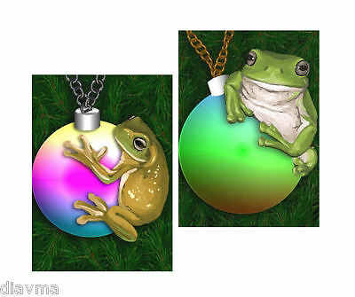 © ART - Ltd.Ed. Christmas Green Tree Frog Baubles  ACEO collector card by Di