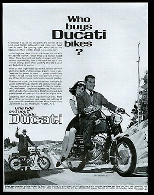 1965 Ducati Monza jr and Falcon motorcycle vintage print ad
