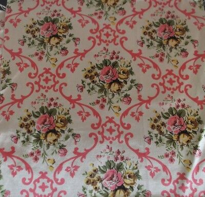 Pair Of Antique Vintage Silk/satin Fabric Cushion Panels ~Roses & Flora ~