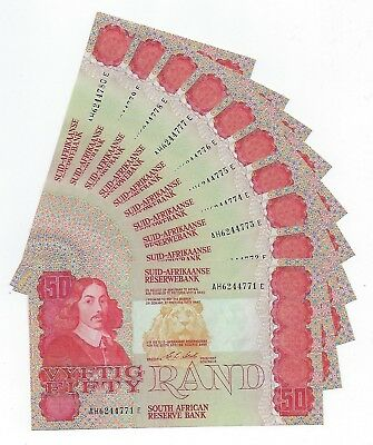 *Bulk Buy* South Africa 50 Rand 1990 x 10 consecutive numbers AUnc. JO-6006
