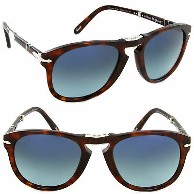 4fbf0e8cd4d Persol PO 714SM 24 S3 54mm Steve McQueen Sunglasses Havana   Blue Polarized  Lens
