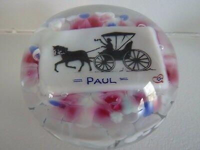 """Degenhart Glass Horse & Buggy """"PAUL"""" Pictoral PAPERWEIGHT Name Plaque  Frit"""