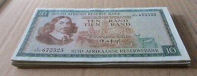 *Bulk Buy* South Africa 10 Rand 1967/75 x 25 notes VF+. JO-6016