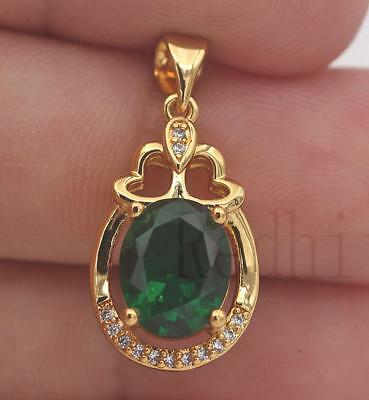 18K Gold Filled - Heart Hollow Oval Emerald Topaz Gems Swirl Cocktail Pendant
