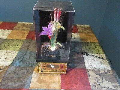 Vintage Rotating Psychedelic Fiber Optic Flower Lamp With Clock Electric  WORKS