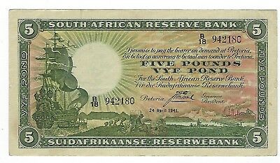 South Africa 5 Pounds 1941 VF+. JO-6044